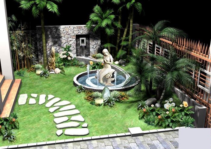 Mẫu vườn bao gồm hồ và cây cảnh cho sân nhỏ
