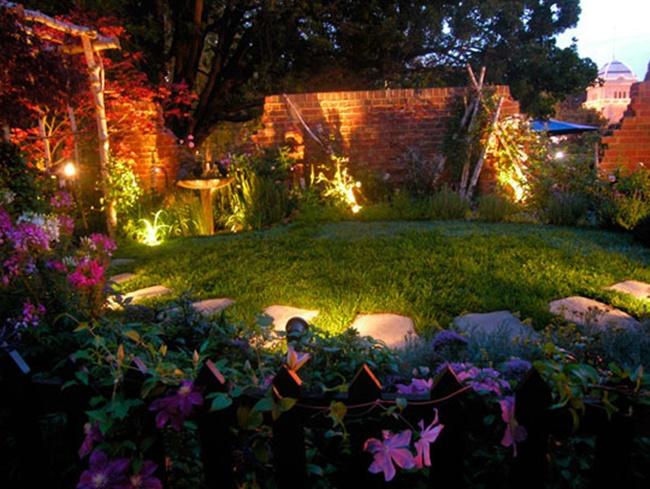 Ánh sáng của đèn làm cho khu vườn nổi bật